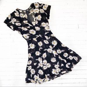 REFORMATION sheer daisy grunge mini dress.